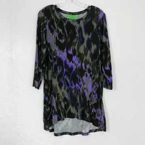 LOGO Purple Green Leopard Print Hi Low Swing Tunic